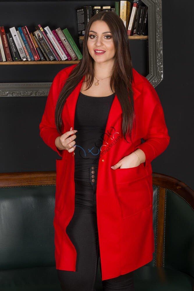 Czerwony płaszcz damski FENDY Size Plus