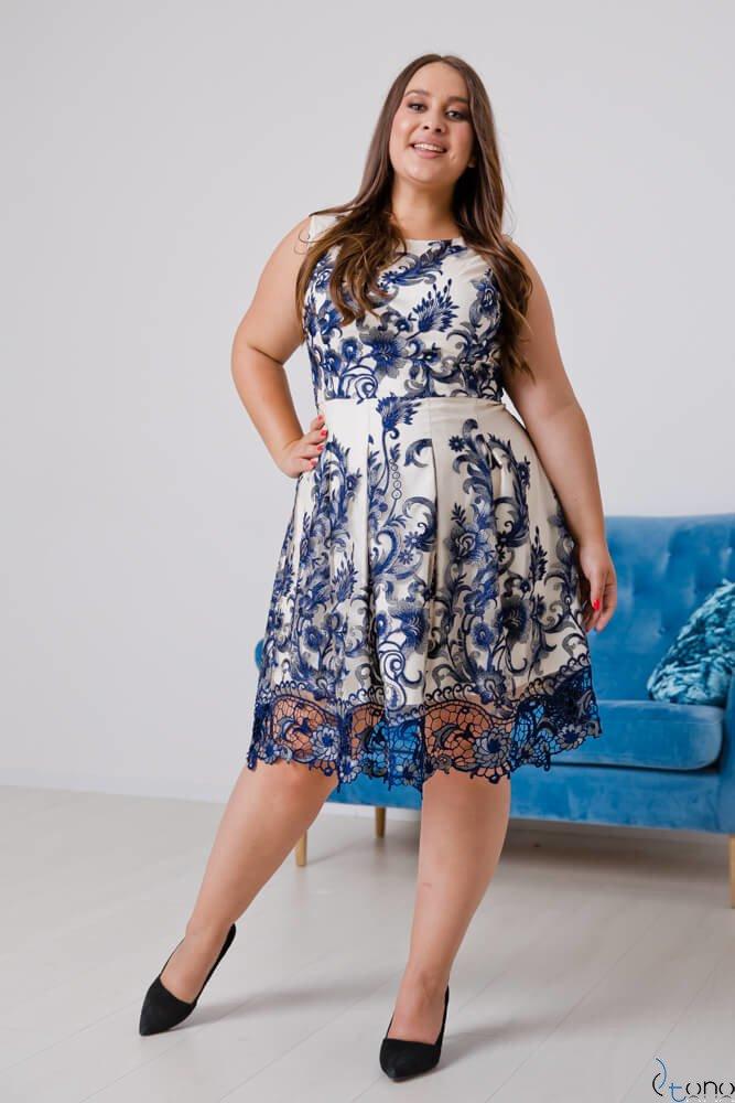 Ecru-granatowa Sukienka GENIO Plus Size
