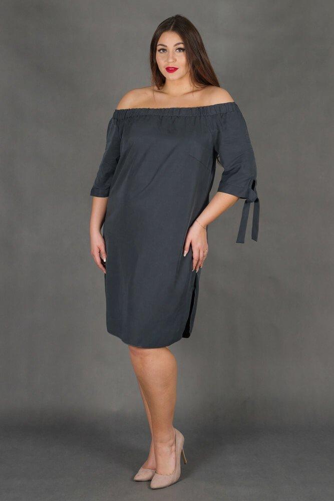 Grafitowa Sukienka VALENCIA Hiszpanka Plus Size