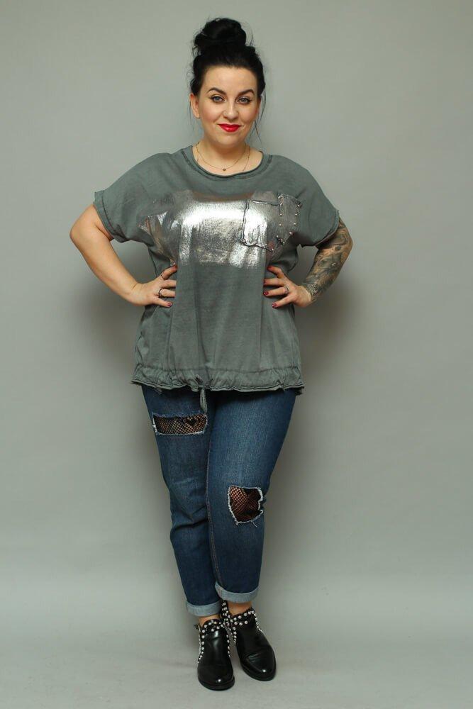 Grafitowa bluzka damska NOVARA T-shirt Plus Size