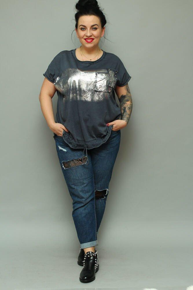 Granat bluzka damska NOVARA T-shirt Plus Size