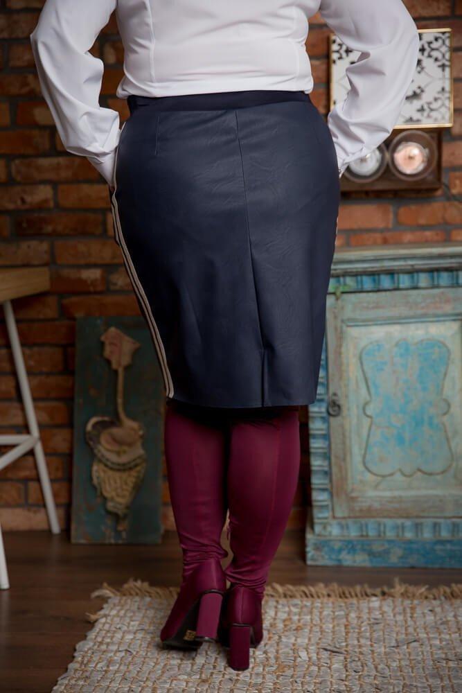Granatowa Spódnica KENDY Lampas Plus Size