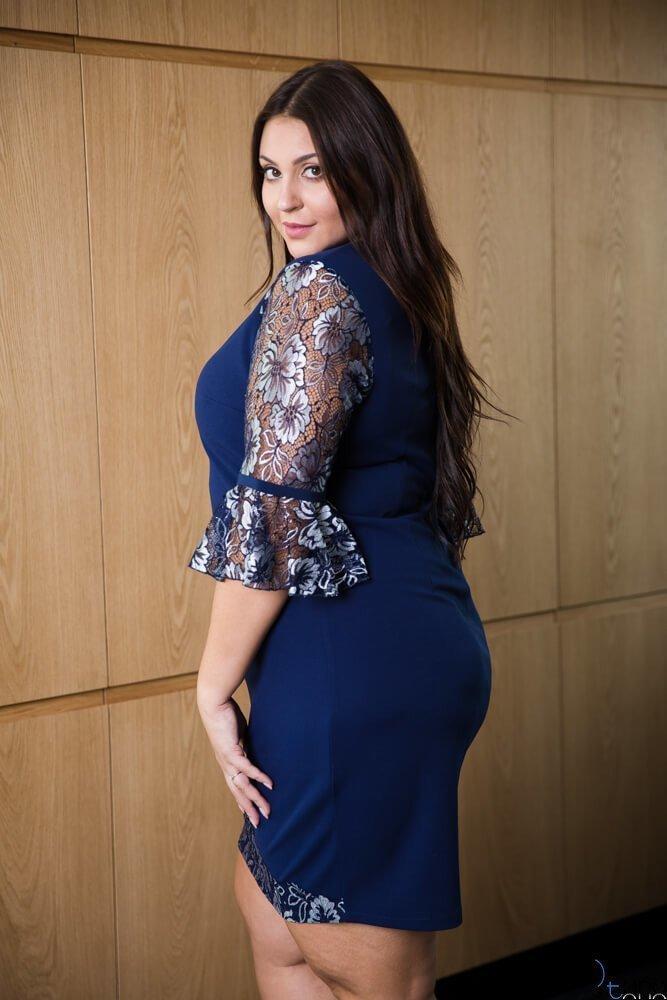 Granatowa Sukienka AGNESS Plus Size