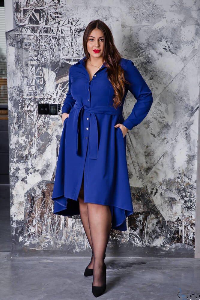Granatowa Sukienka CELINE Szmizjerka Plus Size