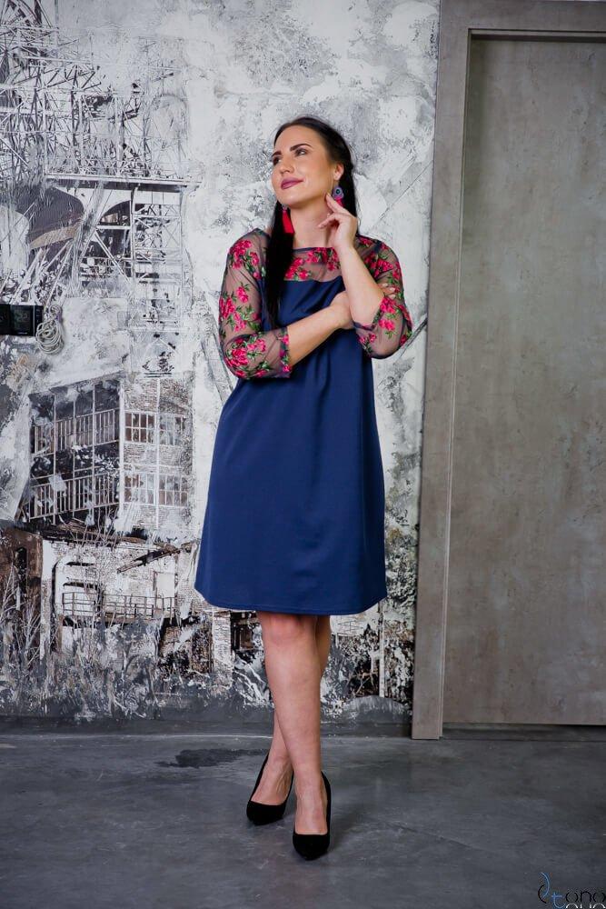 Granatowa Sukienka EDITH Plus Size