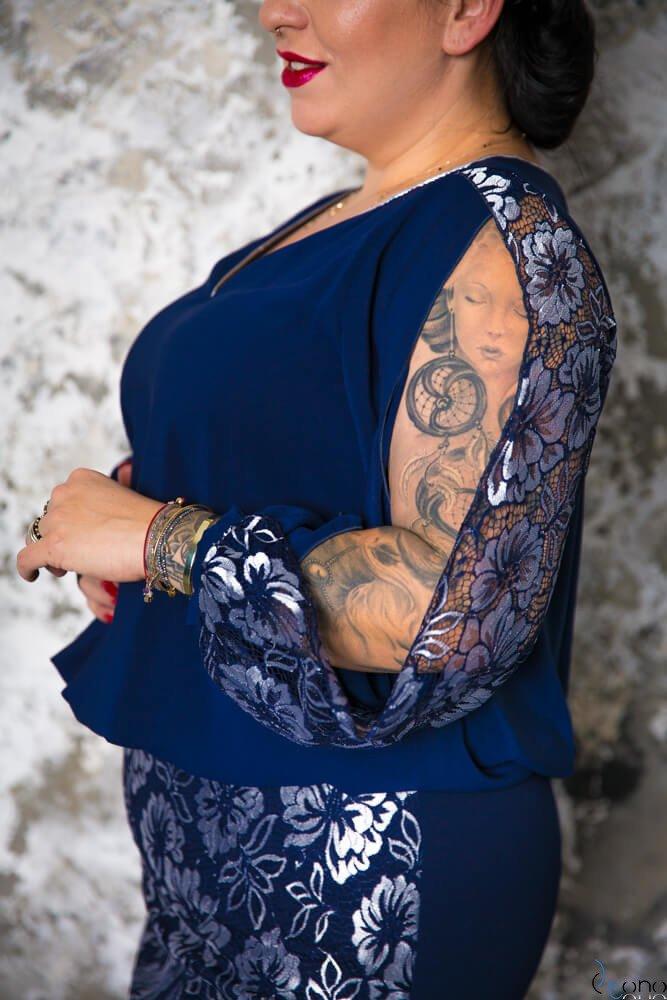 Granatowa Sukienka FIDELJA Plus Size