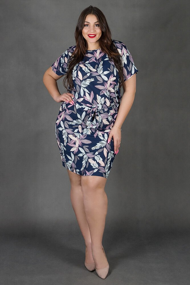 Granatowa Sukienka INEZ Kwiaty Plus Size