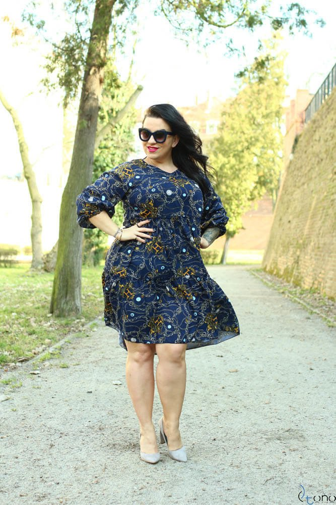 Granatowa Sukienka KALINA Plus Size