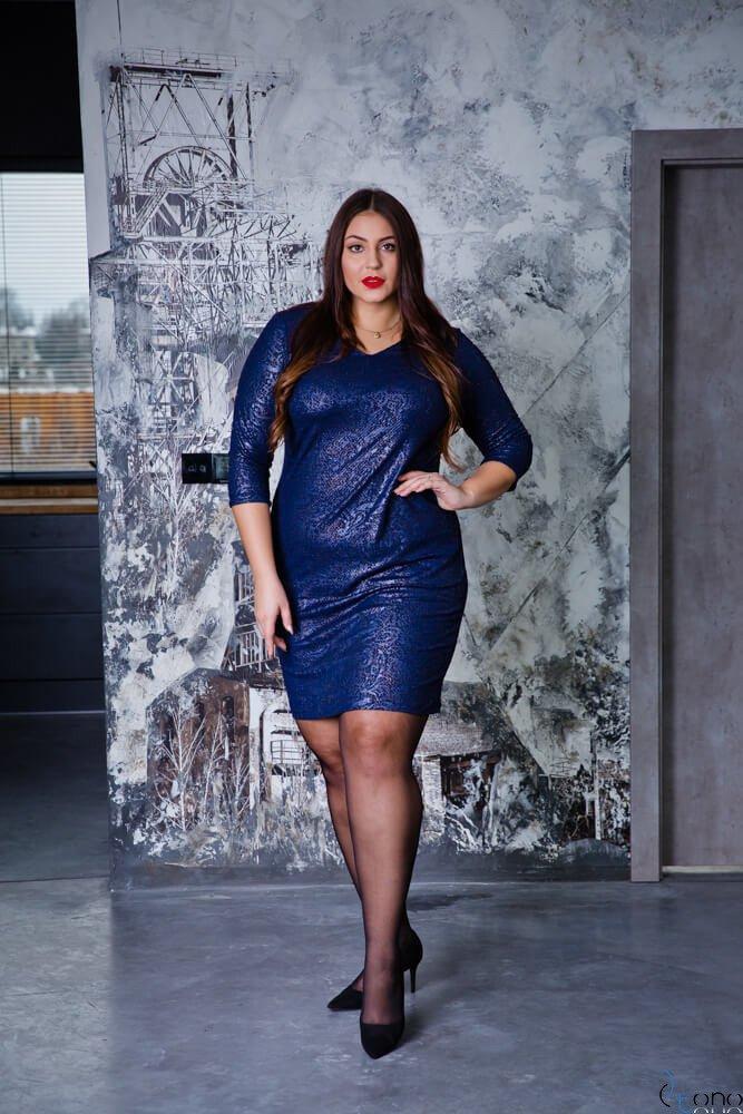 Granatowa Sukienka LERRIDA Plus Size