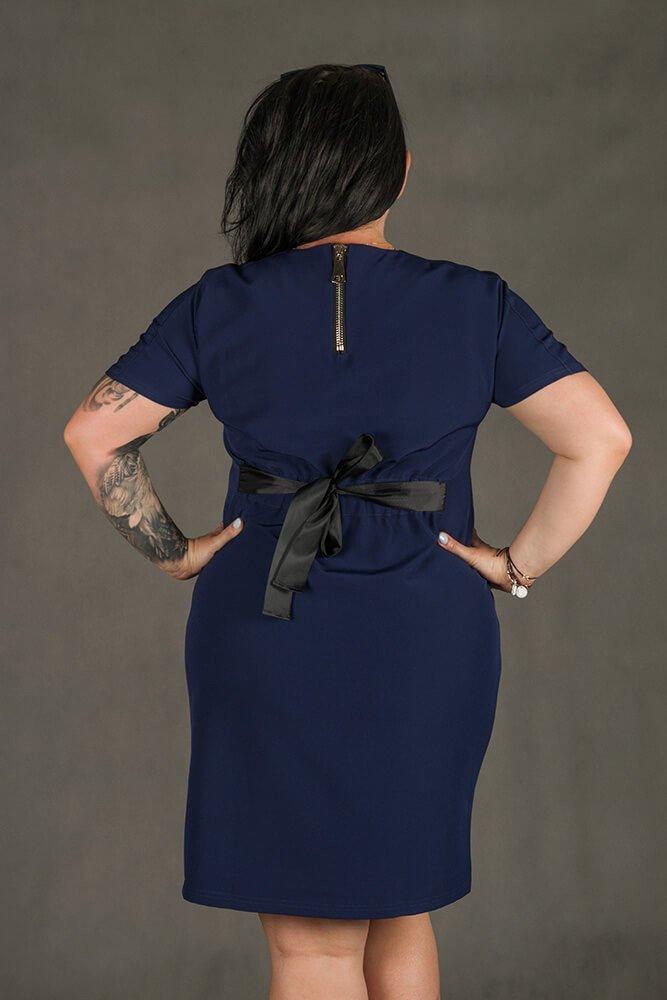 Granatowa Sukienka MARIETTA Plus Size