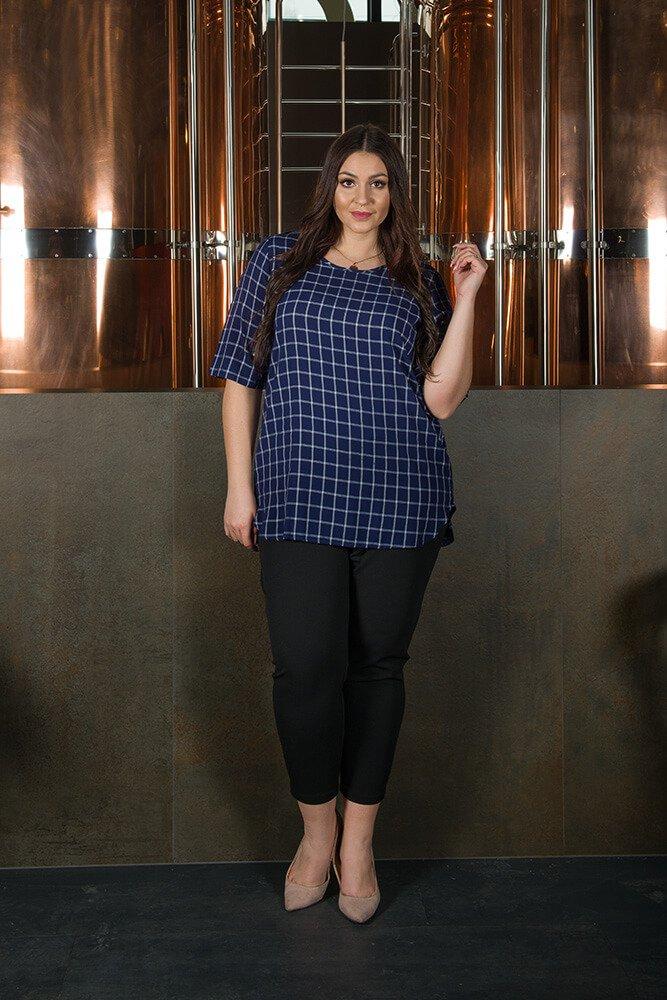 Granatowa bluzka damska ALICJA duże rozmiary krata