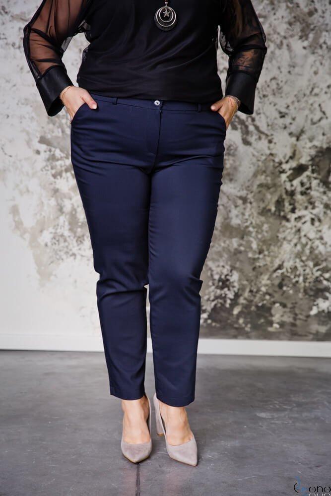 Granatowe Spodnie RESPER eleganckie Plus Size