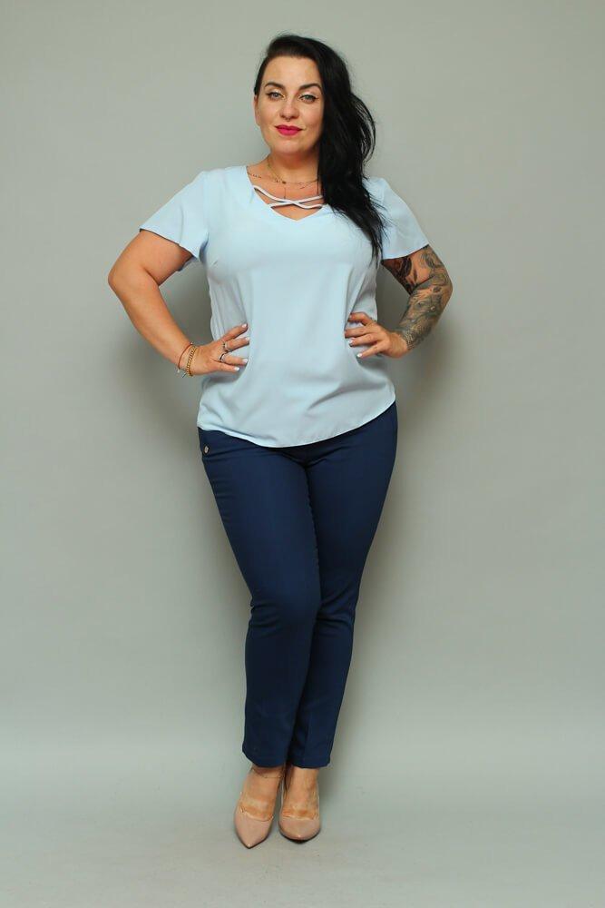 Granatowe Spodnie eleganckie damskie VOLTENO Plus Size