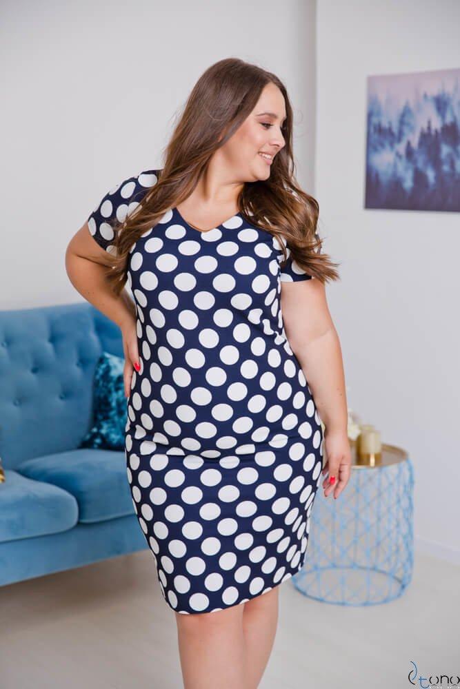 Granatowo-Biała Sukienka CARISMA Plus Size