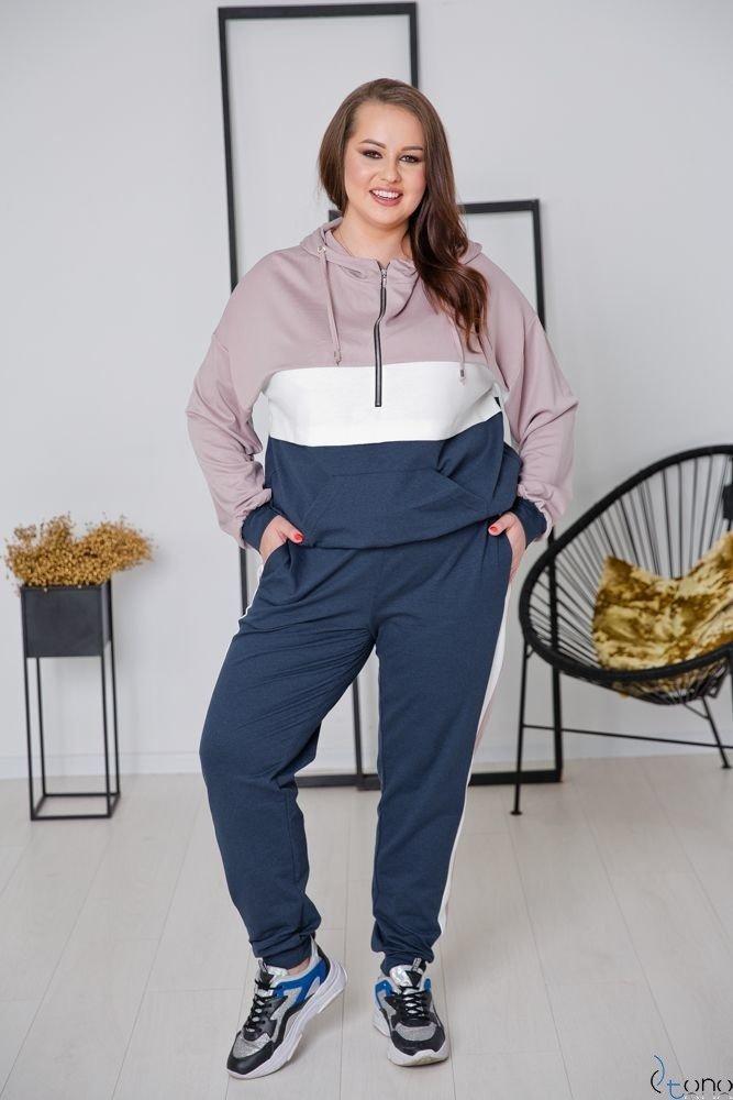 Granatowo-różowy Dres TRIPLE Plus Size
