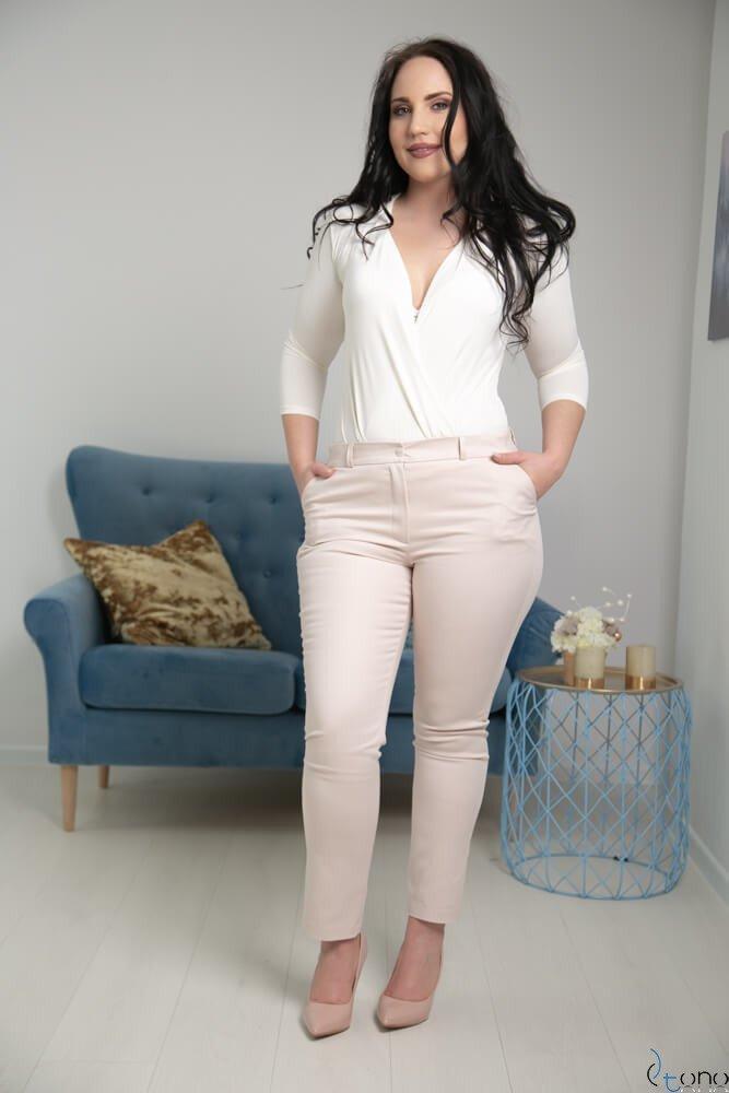 Jasnobeżowe Spodnie RESPER eleganckie Plus Size
