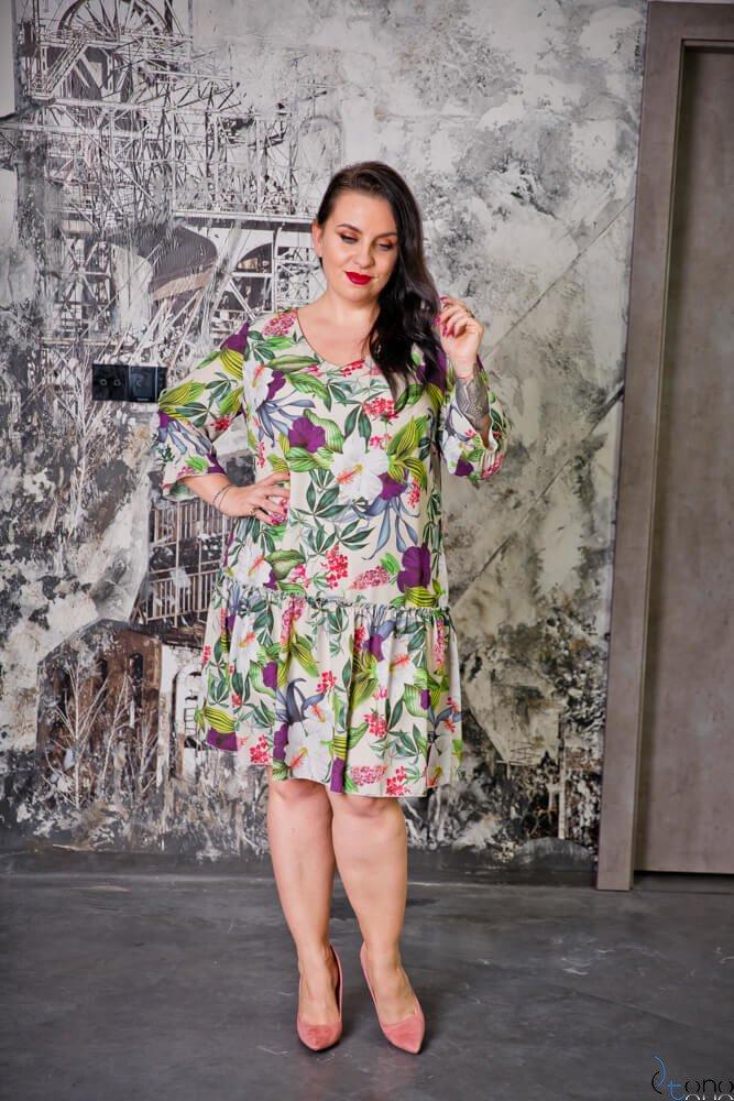 Kolorowa Sukienka SARA Plus Size