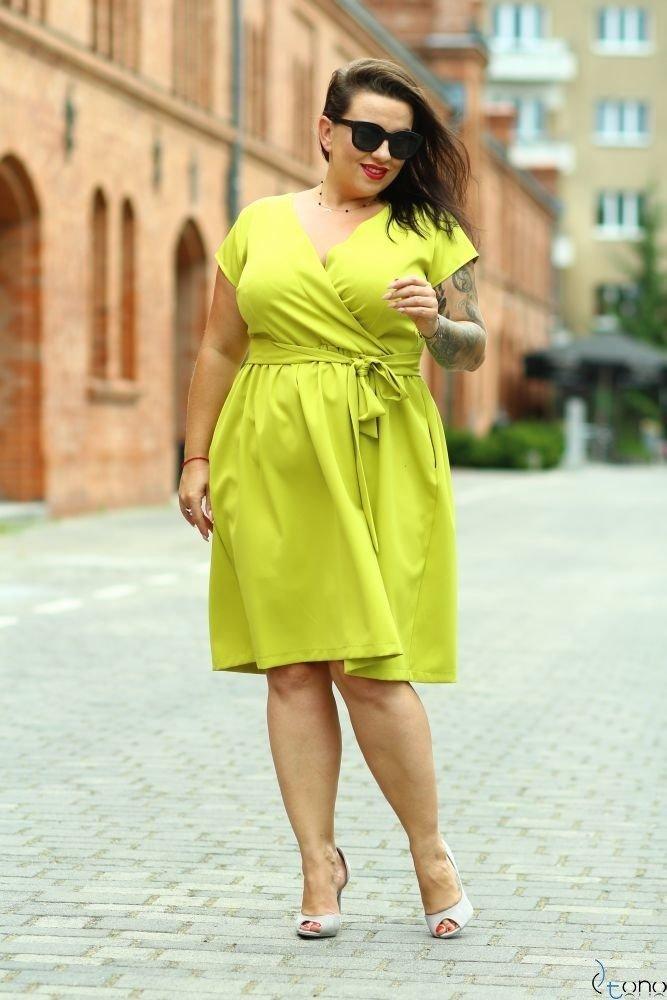 Limonka Sukienka MACARIS Plus Size