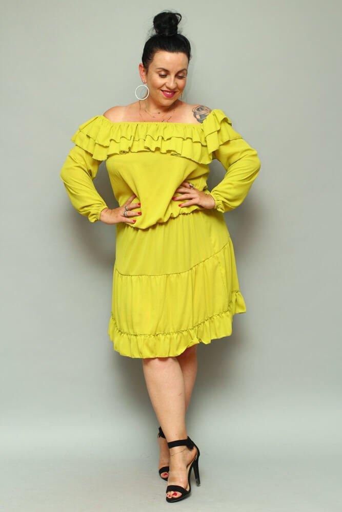 Limonkowa Sukienka LAKKI Hiszpanka Plus Size