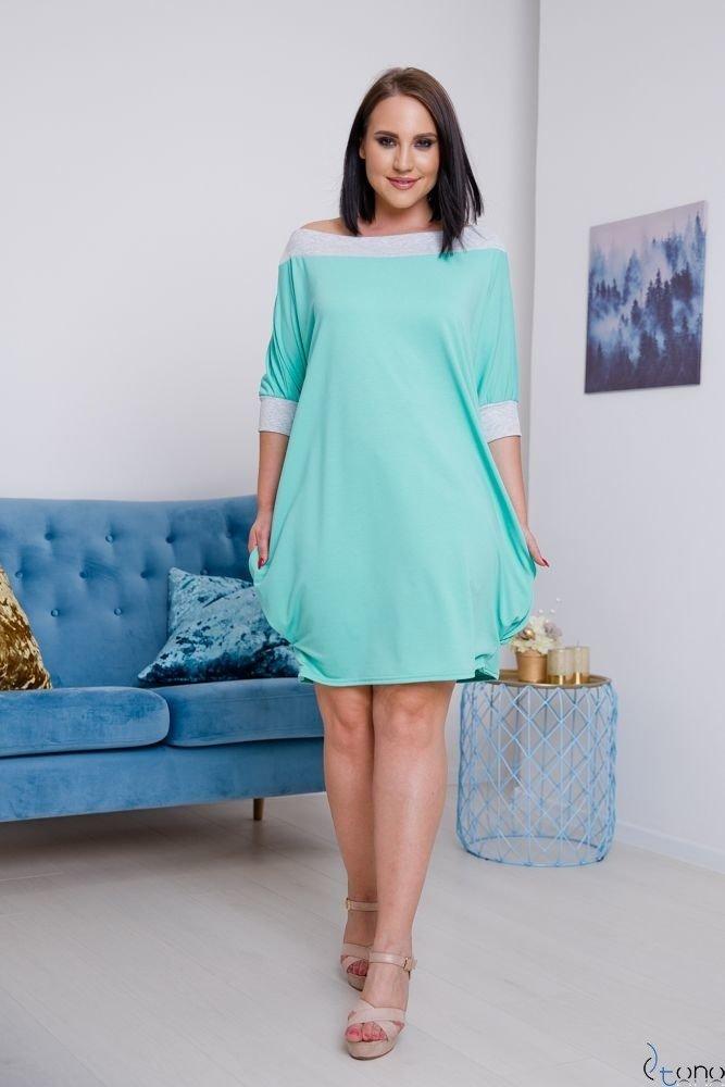Miętowa Sukienka SEPPI Plus Size