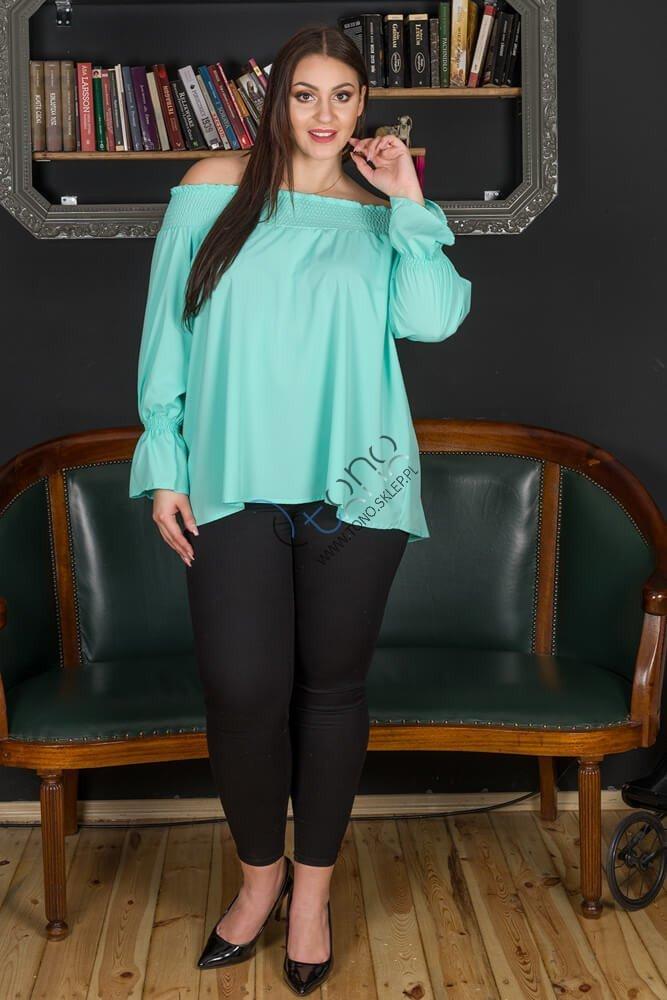 Miętowa bluzka damska GRANADA hiszpanka plus size