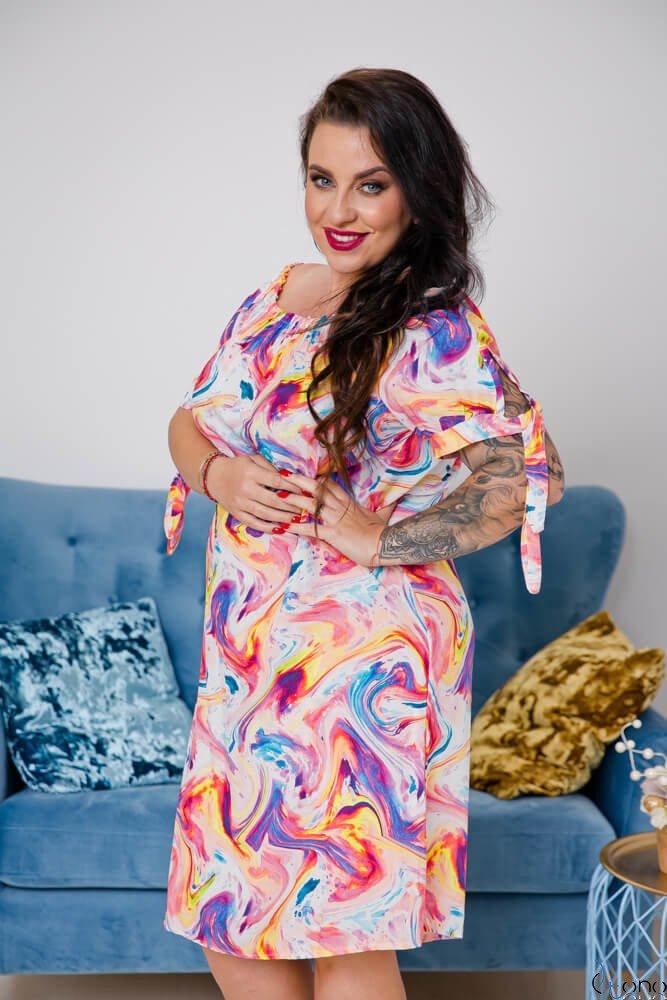Multikolorowa Sukienka GUARDARA Plus Size
