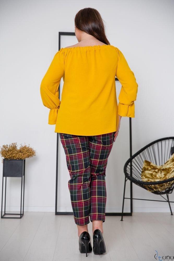 Musztardowa Bluzka SEVIJA Plus Size