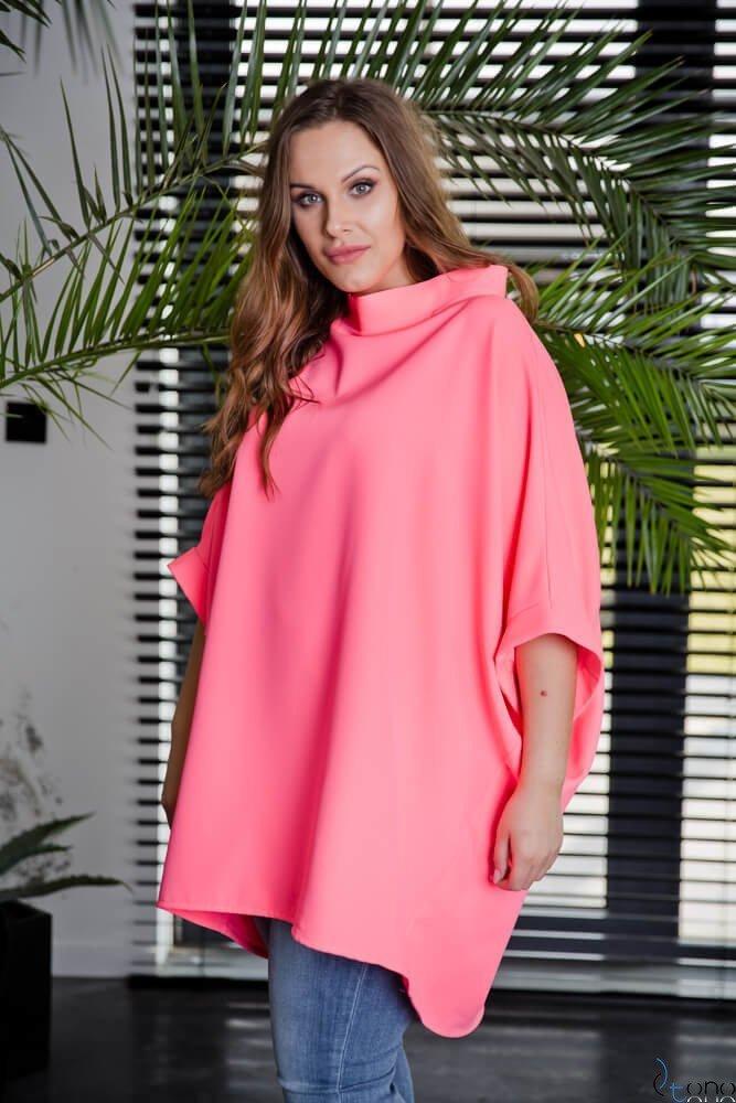 Neonowo-różowa Tunika ESENTIAL Plus Size