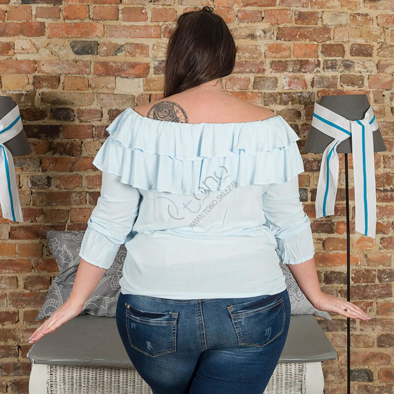 Niebieska Bluzka BASTIA Hiszpanka Koszulowa Modna Plus Size