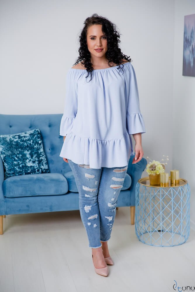Niebieska Bluzka CARLITA Plus Size