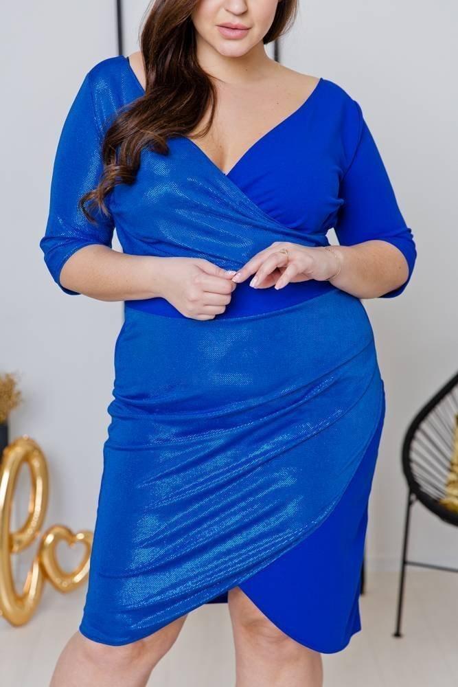 Niebieska Sukienka DRIMA Plus Size