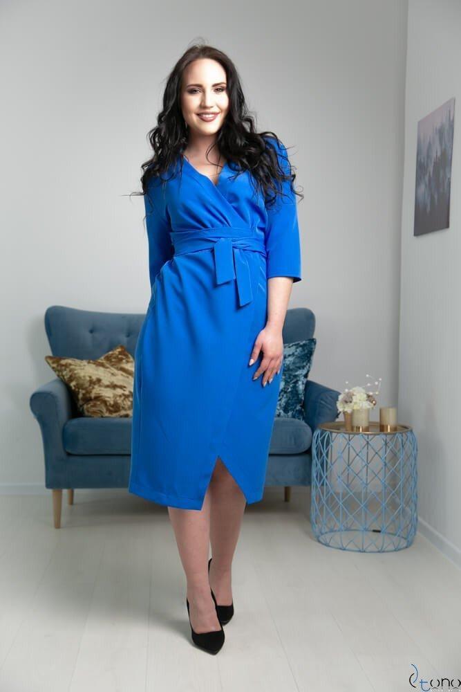 Niebieska Sukienka FERRERA Plus Size