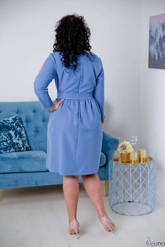 Niebieska Sukienka MAKAN Kopertowa Plus Size