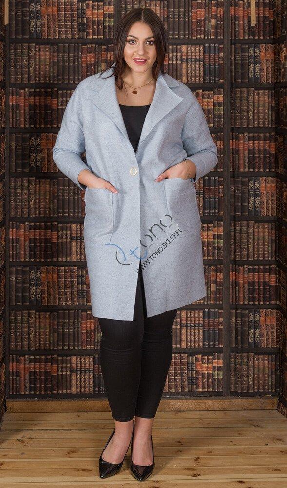 Niebieski płaszcz damski FENDY Size Plus