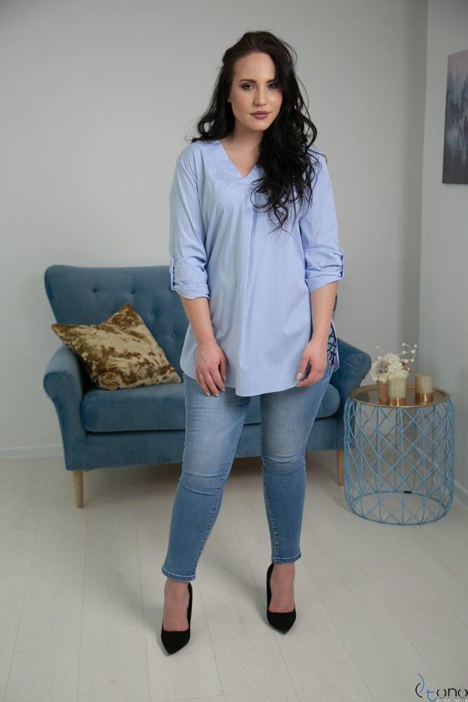 Niebiesko-Biała Bluzka JUSTIN Plus Size