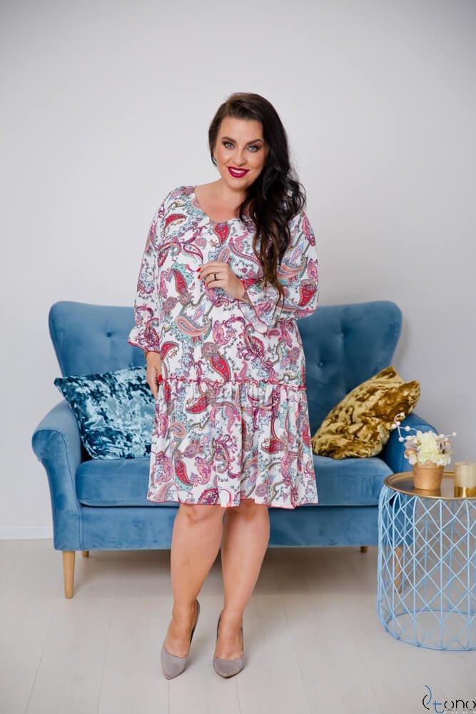 Sukienka SARA Ecru Plus Size