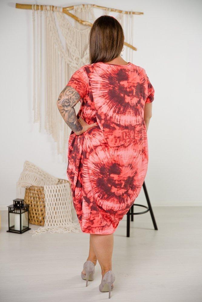 Pomarańczowa Sukienka SPLASH Plus Size
