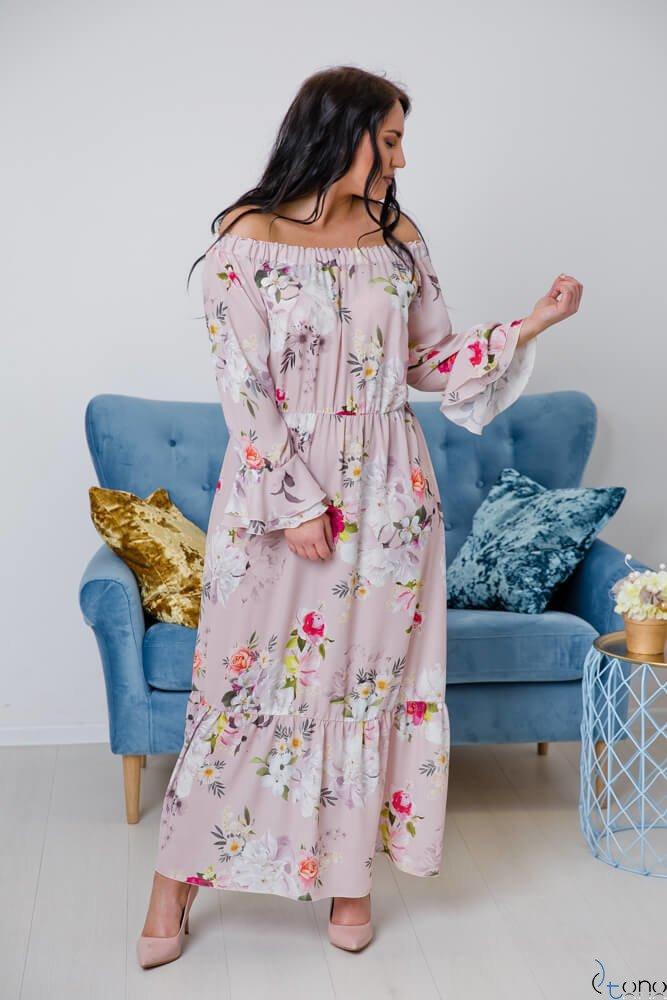 Pudroworóżowa Sukienka BENITA Plus Size Maxi