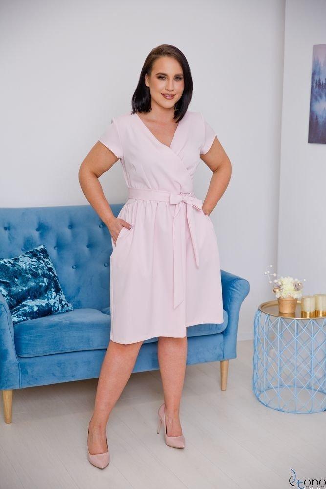 Pudroworóżowa Sukienka MACARIS Plus Size
