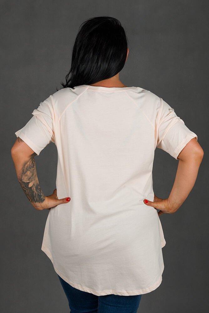 Różowa Bluzka GIANA Trapezowa Plus Size
