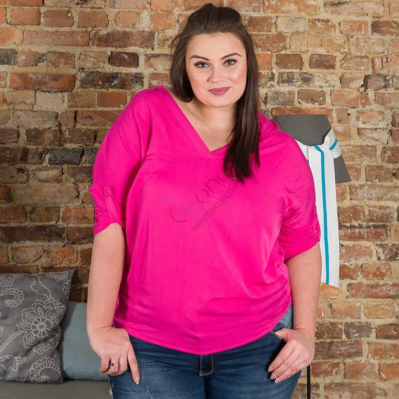Różowa Bluzka damska COLOMBA Kimono Plus Size