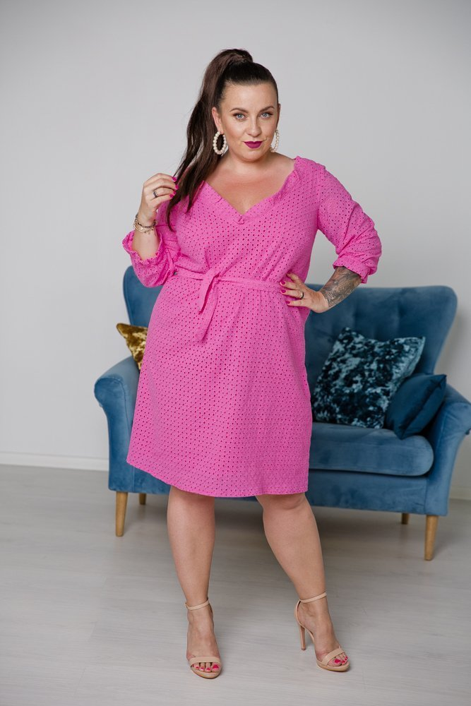 Różowa Sukienka BALBINA Plus Size