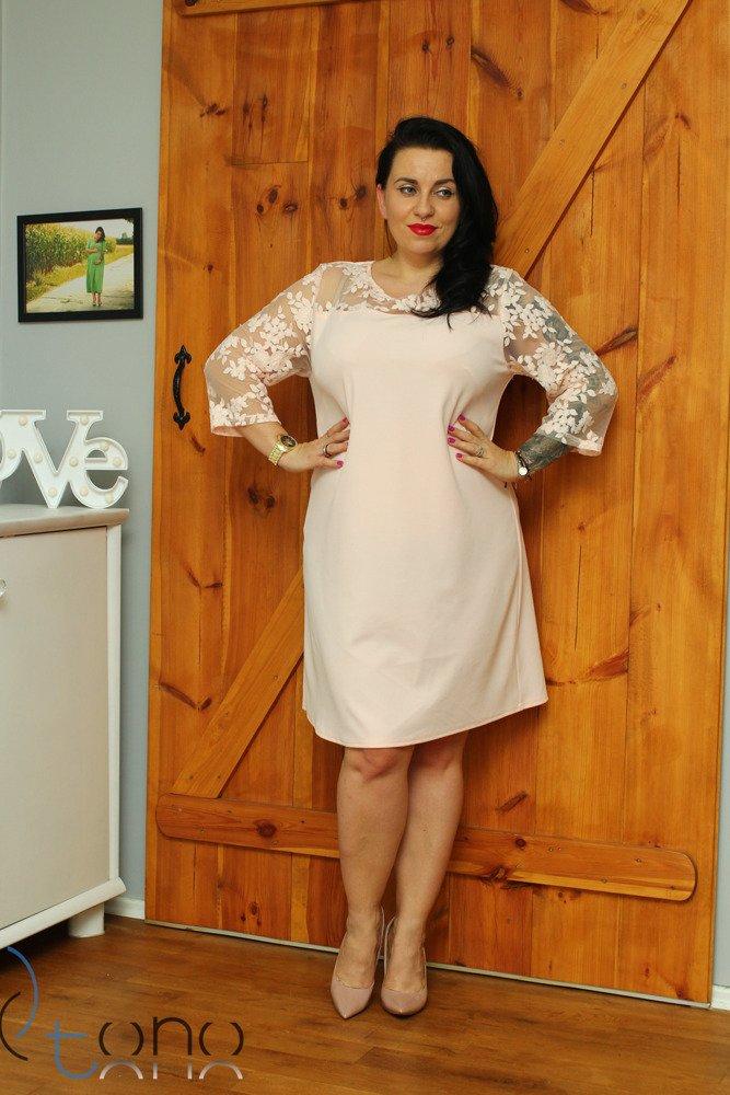 Różowa Sukienka BELLA Koronka Elegancka