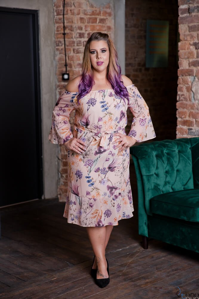 Pudroworóżowa Sukienka BIANKINA Plus Size