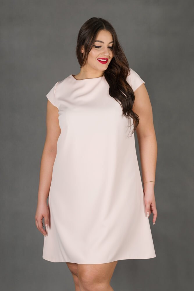 Różowa Sukienka FINESTRA Rozkloszowana Plus Size