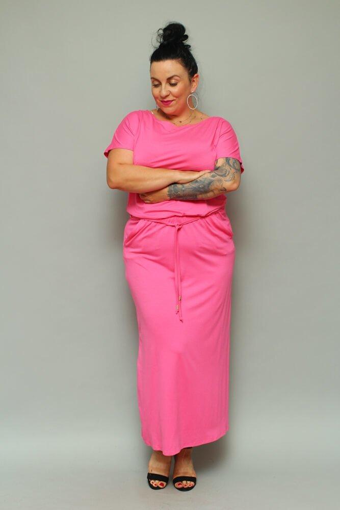 Różowa Sukienka FINTA Maxi Letnia Plus Size
