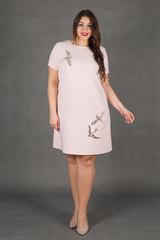 Różowa Sukienka MOCCA Trapezowa Plus Size