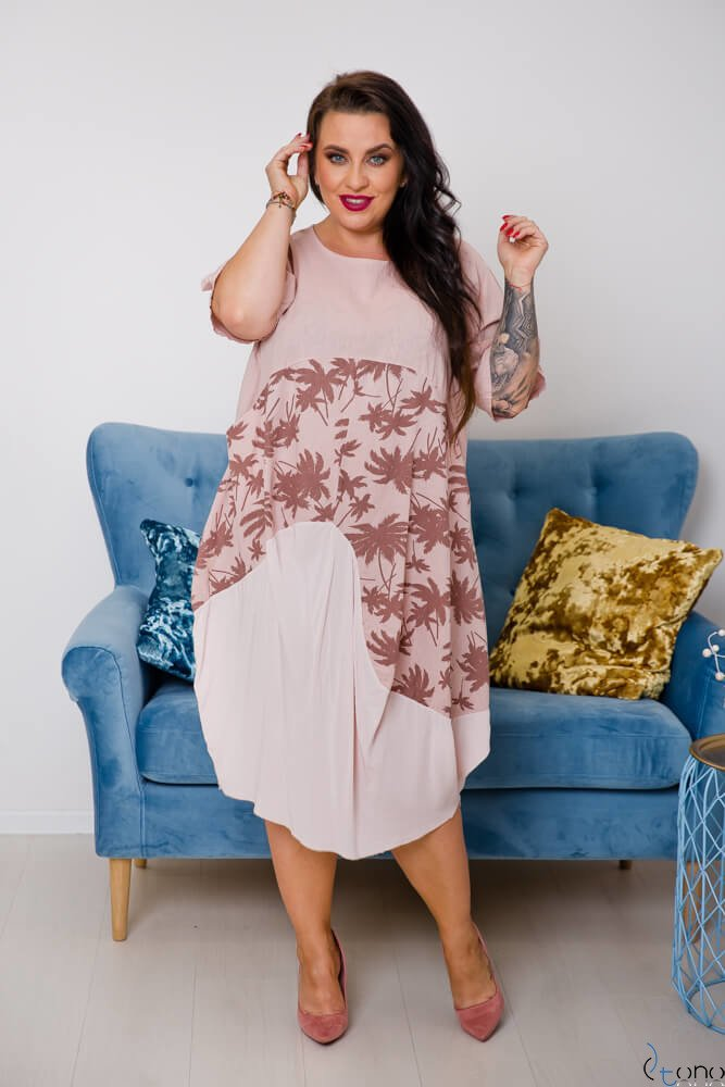 Różowa Sukienka OLANDA Plus size