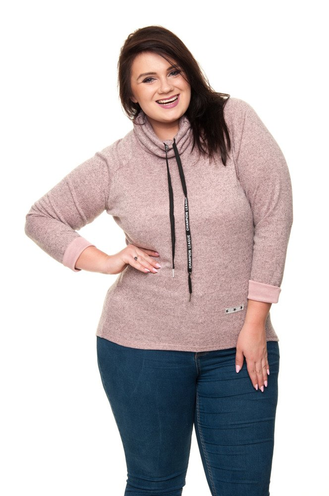 Różowa Tunika CHAMPION Swetrowa Półgolf Plus Size