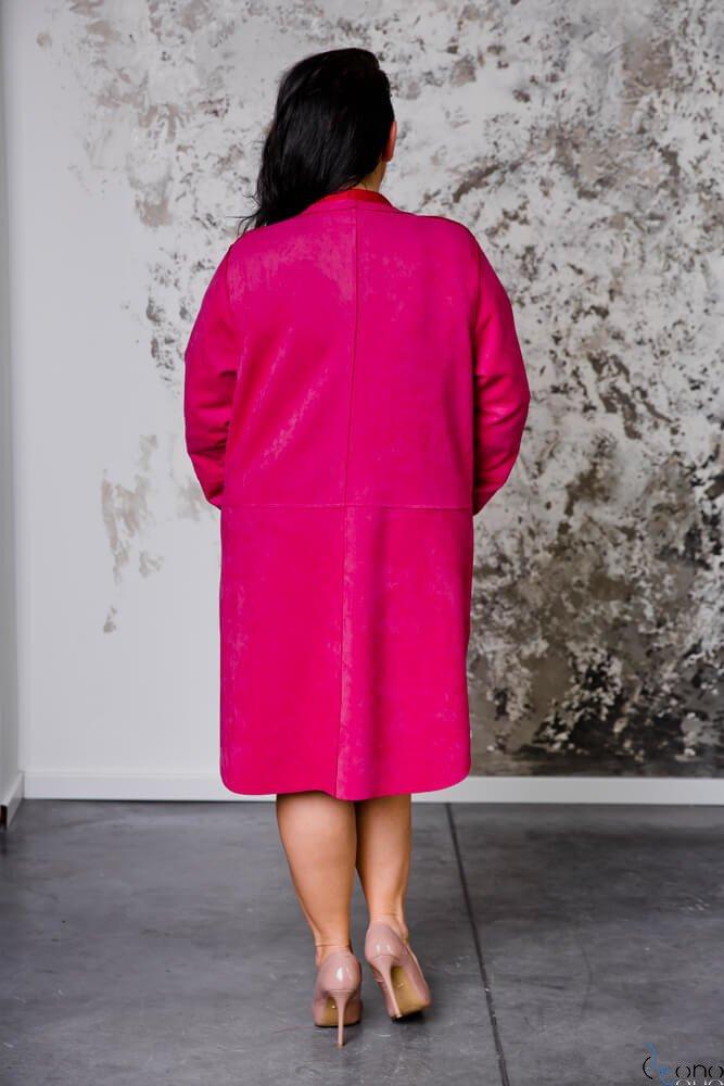 Różowy Płaszcz PREMIO Plus Size Zamszowy